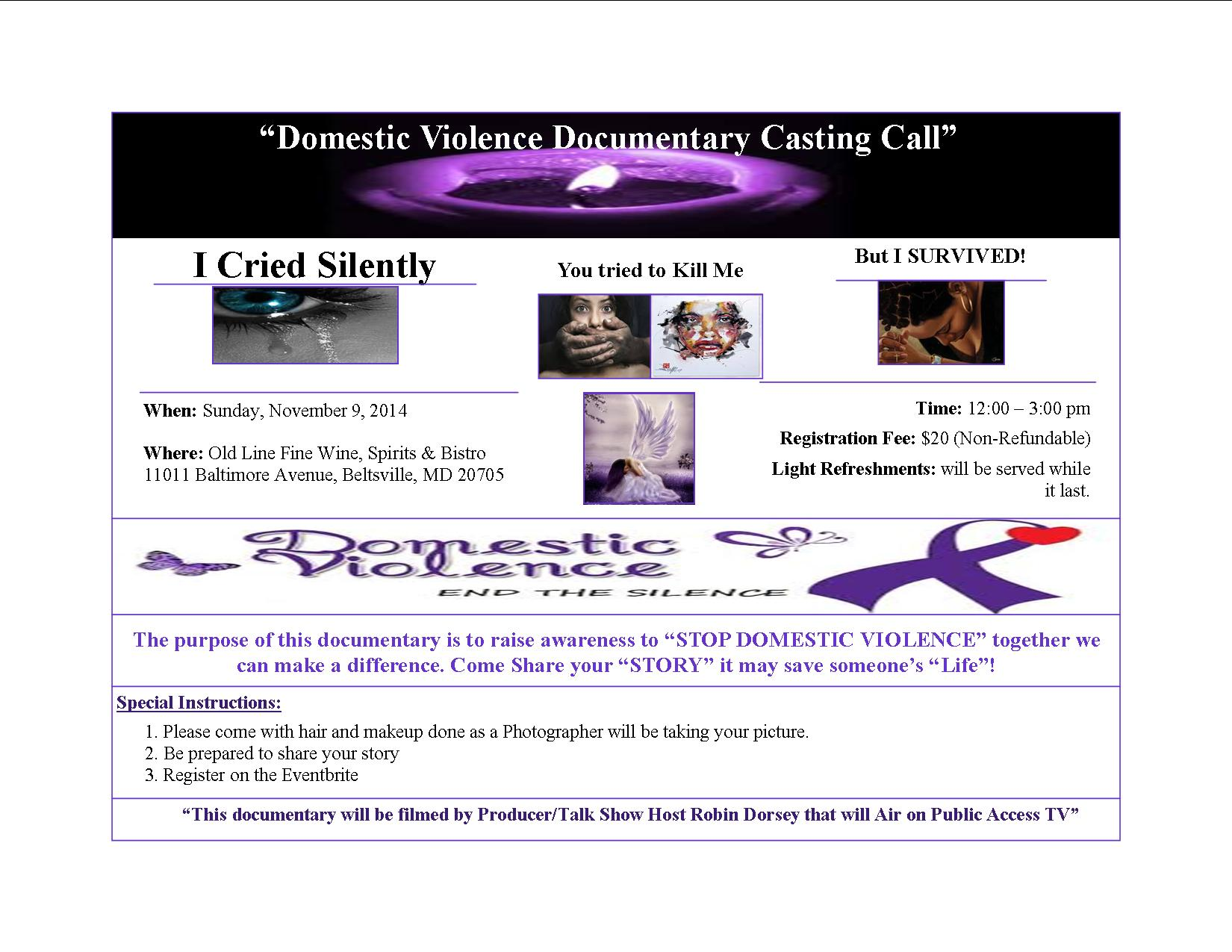 Domestic Violence Casting Call 11.9.14
